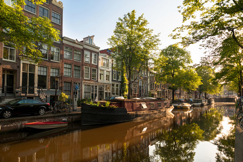 Houseboat on Amsterdam Canal stock photo
