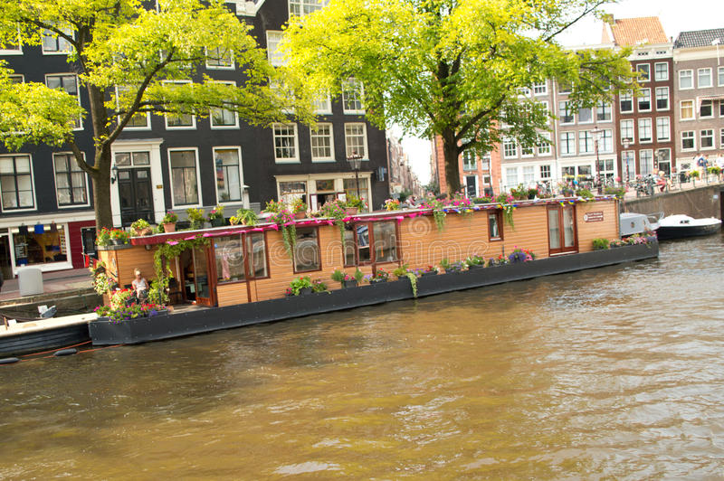 Houseboat in Amsterdam royalty free stock photos