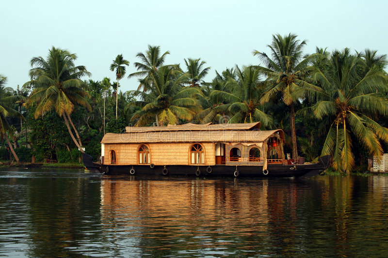 Houseboat on Kerala backwaters, India royalty free stock image