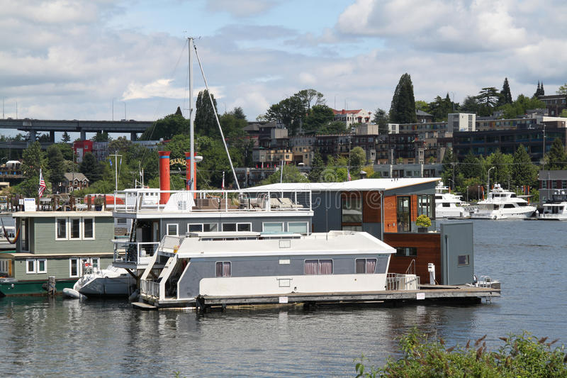 Houseboat living in Seattle stock photos