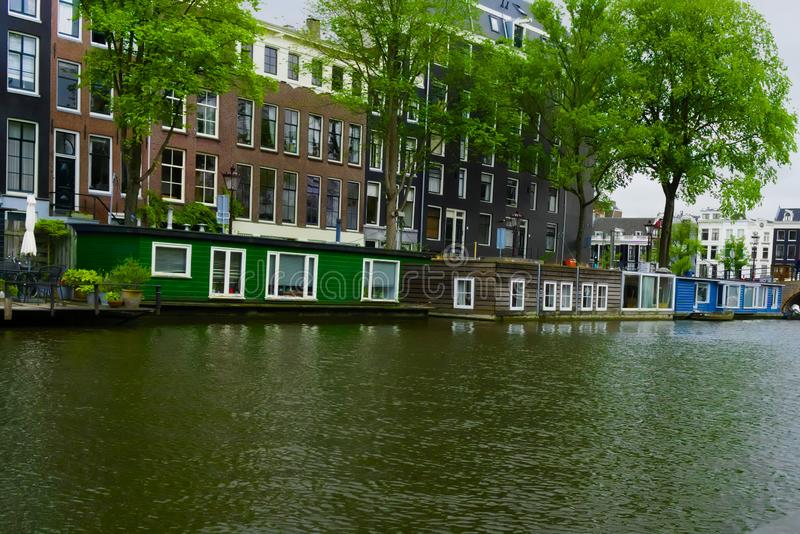 Houseboats in the nieuwe prinsengracht. Amsterdam stock image