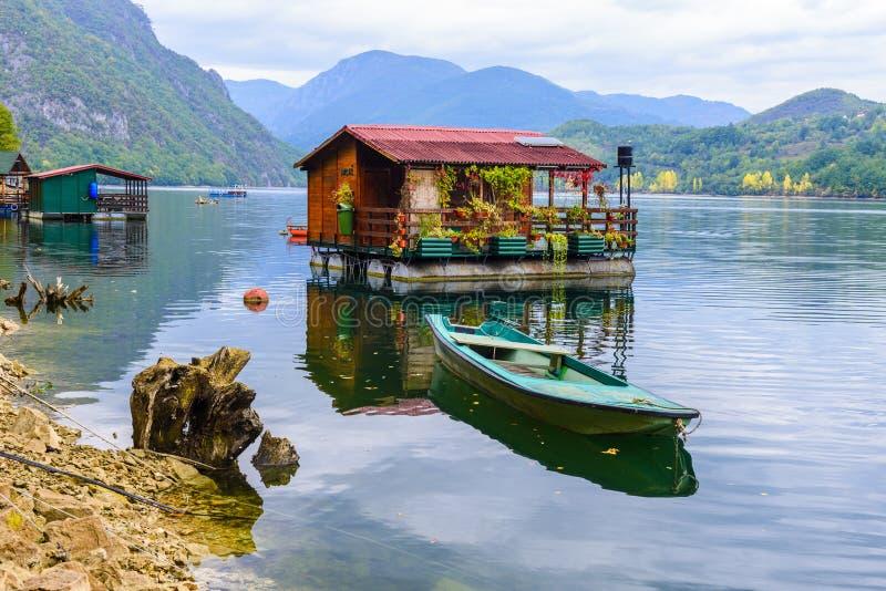 Houseboats of Perucac lake (Serbia) royalty free stock photos