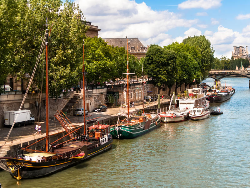 Houseboats on the Seine River Paris royalty free stock image