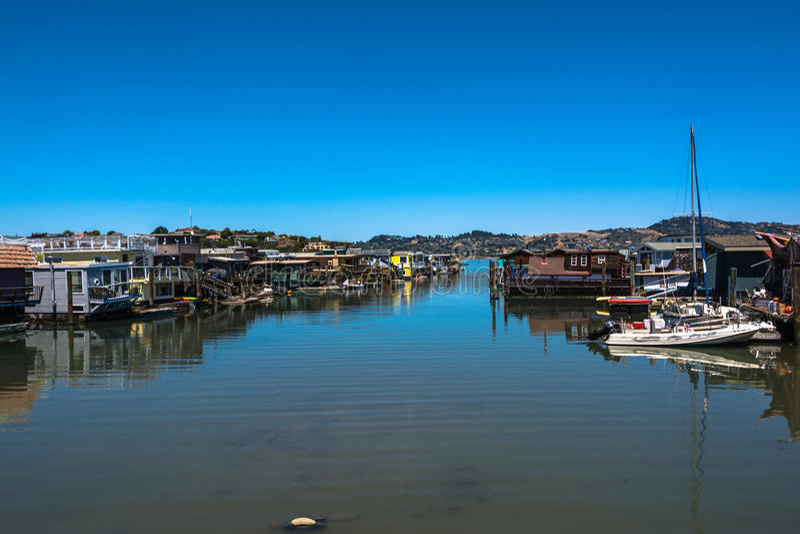 Houseboats w Sausalito, kalifornijczyk zdjęcie stock