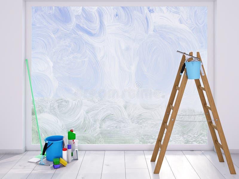 Housecleaning στο σπίτι ενάντια στις λευκές κίτρινες νεολαίες άνοιξη λουλουδιών έννοιας ανασκόπησης στοκ εικόνες