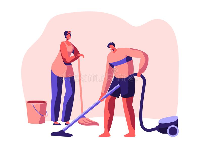 Housecleaning Banner. Character Domestic Scrubwoman Housework Cleaning Floor. Housekeeping Work Time. Equipment Detergent vector illustration