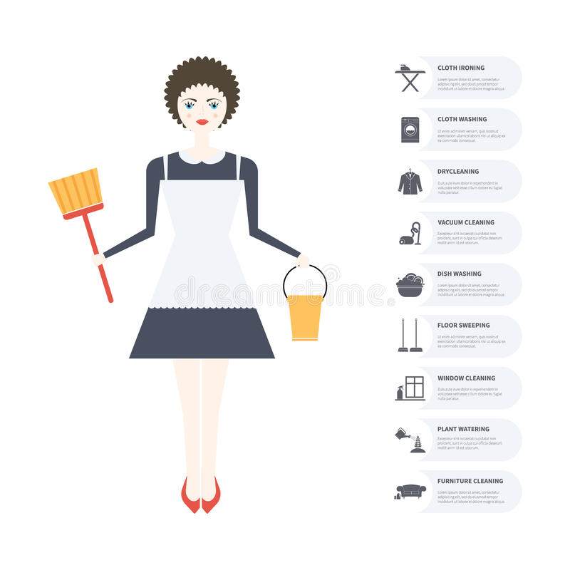 Housecleaning Infographic διανυσματική απεικόνιση