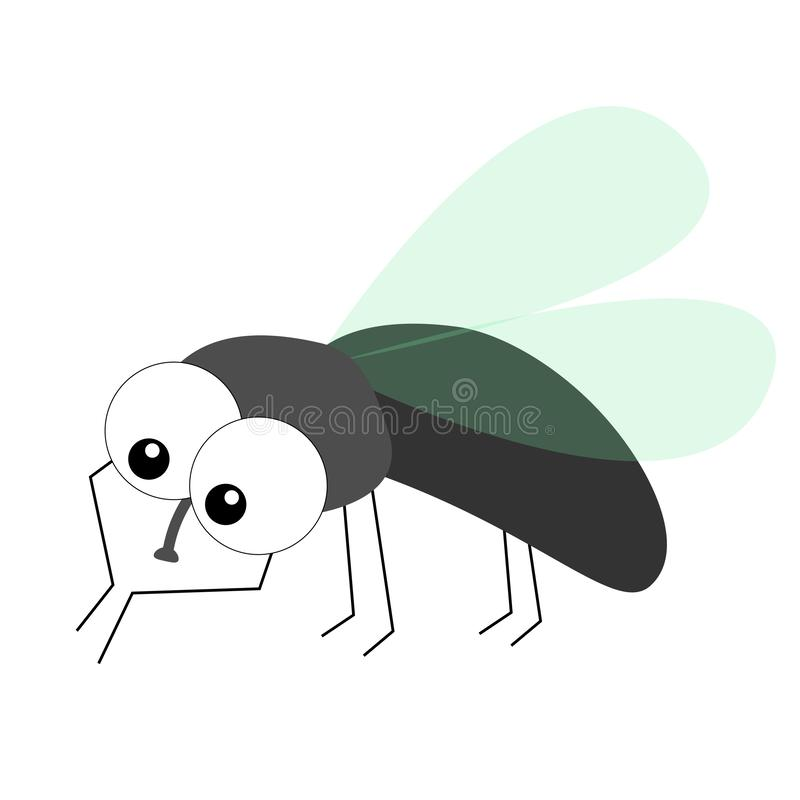 Housefly cleaning and polishing front paw legs. Fly flying insect icon. Baby kids collection. Colorful wings. Cute cartoon kawaii. Funny character. Smiling face stock illustration