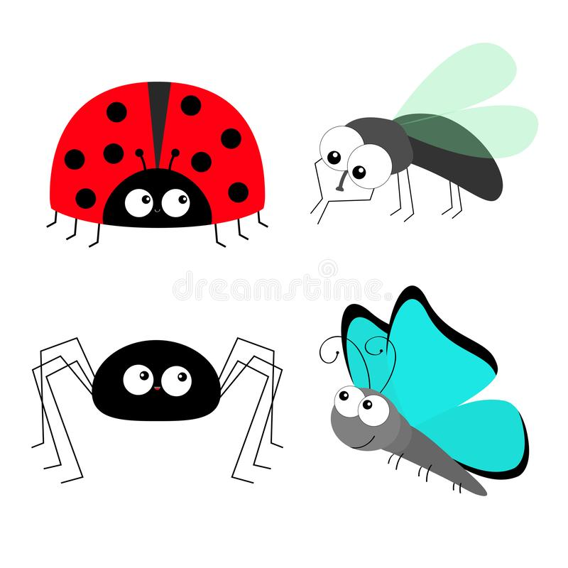 Lady bug ladybird Fly Housefly Spider Butterfly insect icon set. Baby kids collection. Colorful wings. Cute cartoon kawaii funny. Housefly cleaning and polishing stock illustration