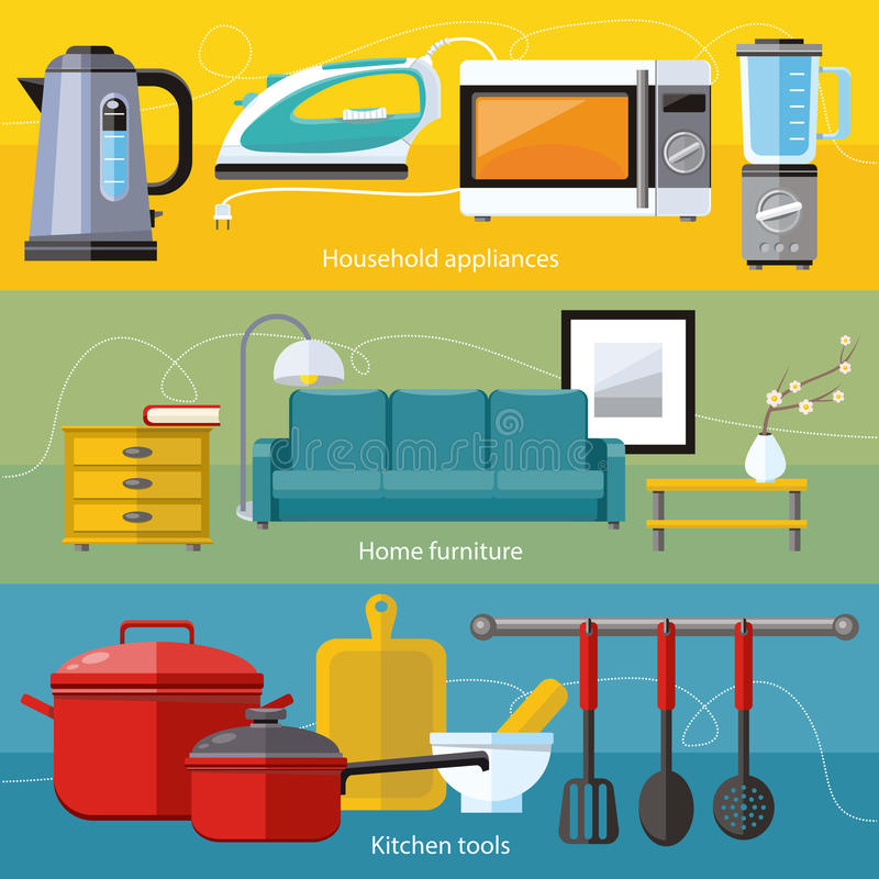 Download Household Appliance, Furniture, Cooking Serve Meal Stock Vector    Illustration Of House,