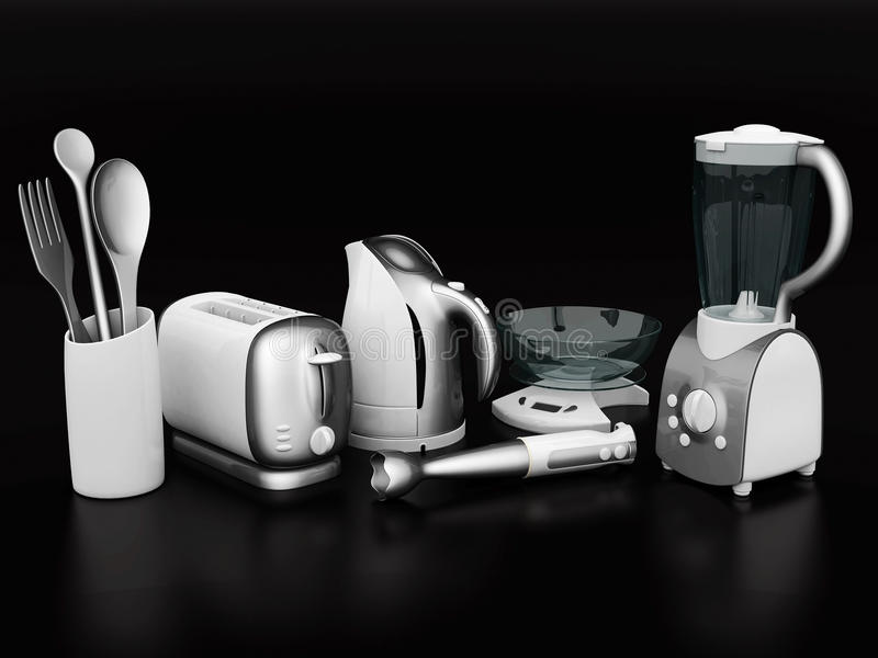 Household appliances. Picture of household appliances on a black background vector illustration