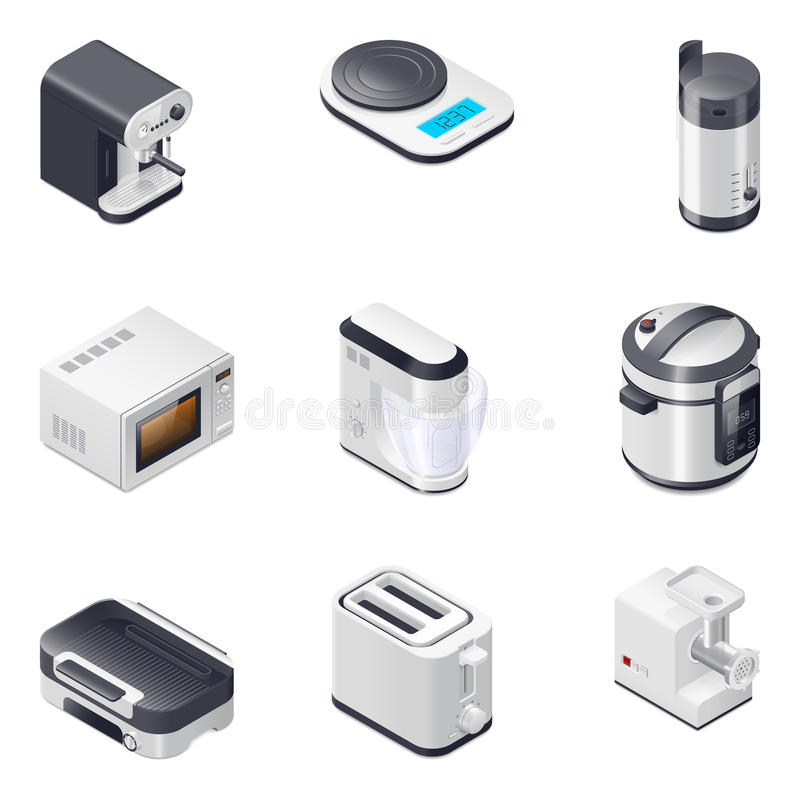 Household appliances detailed isometric icons set, part 2 stock illustration