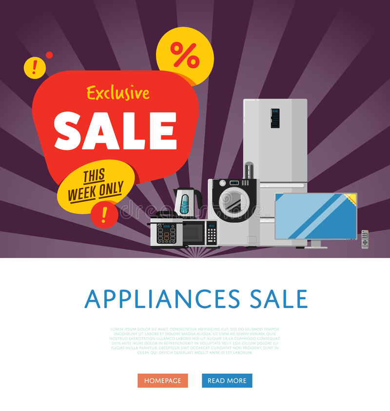 Household appliances discount sale banner royalty free illustration