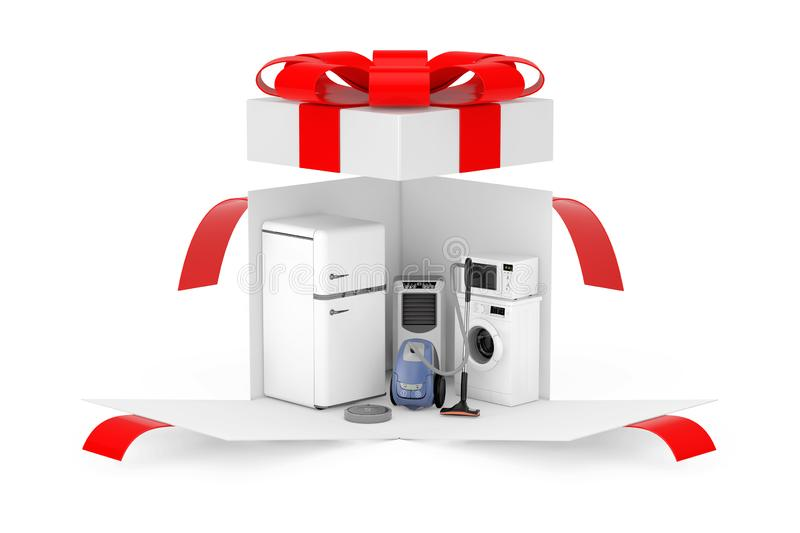 Household Appliances Gift. Household Appliances Set in Opened Surprise White Gift Box with Red Ribbon and Bow. 3d Rendering royalty free stock image