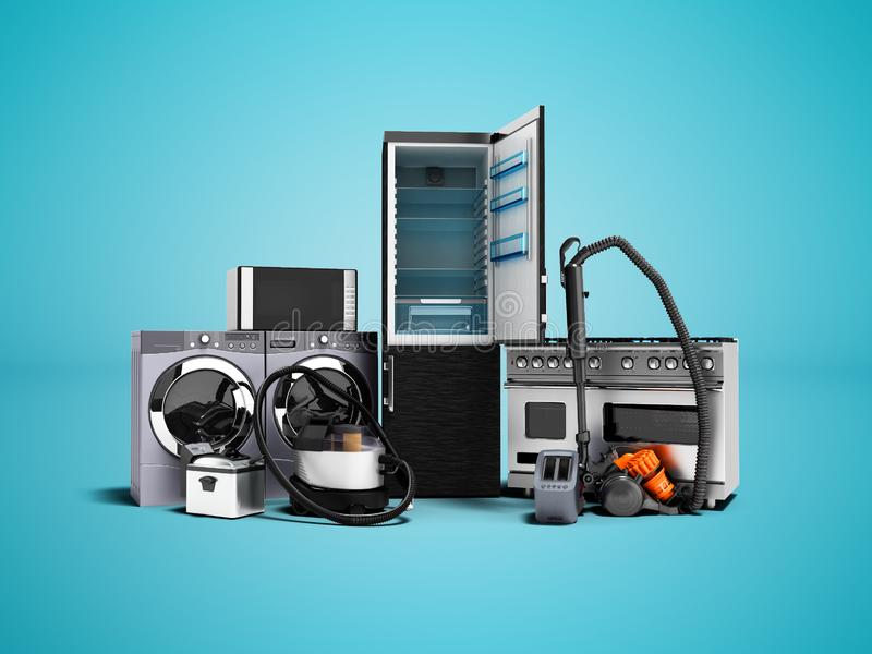 Household appliances group of vacuum cleaners refrigerator microwave washing machine washing machine gas stove 3d render on blue b stock illustration