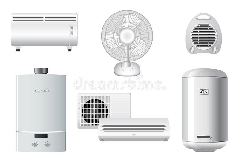 Household Appliances | Heating, air conditioning vector illustration
