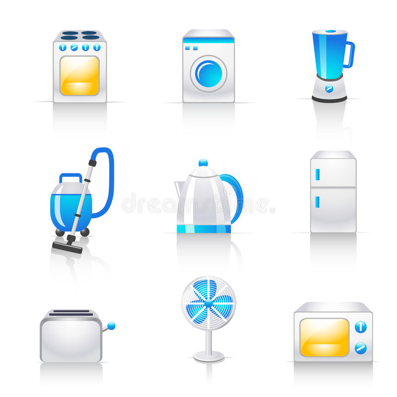 Household Appliances Icons Stock Images
