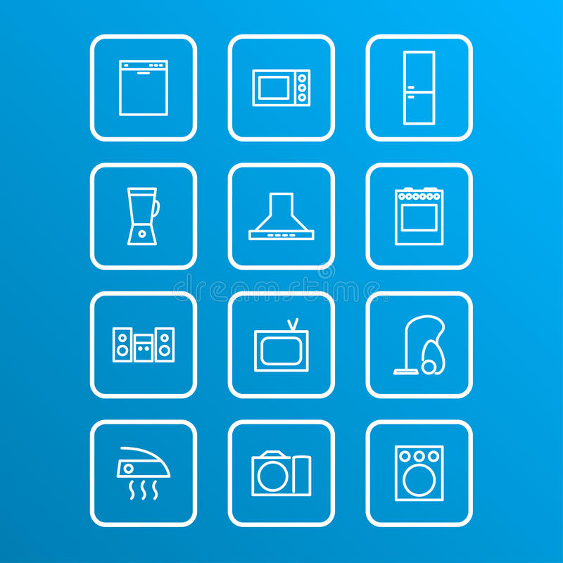 Household appliances icons. Set of household appliances icons, vector eps 10 illustration royalty free illustration