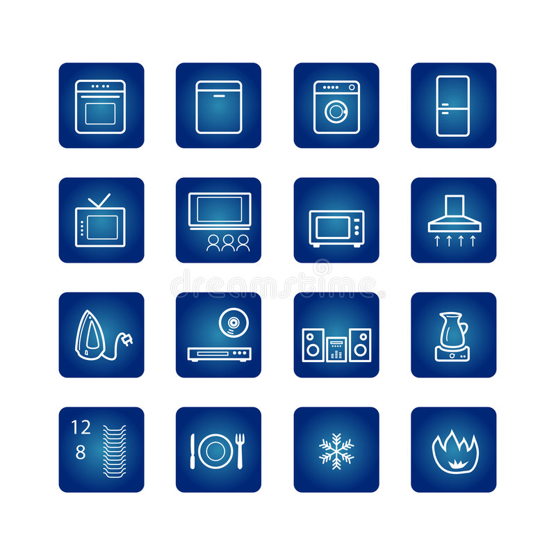 Free Household Appliances Icons Set Royalty Free Stock Image - 1782476
