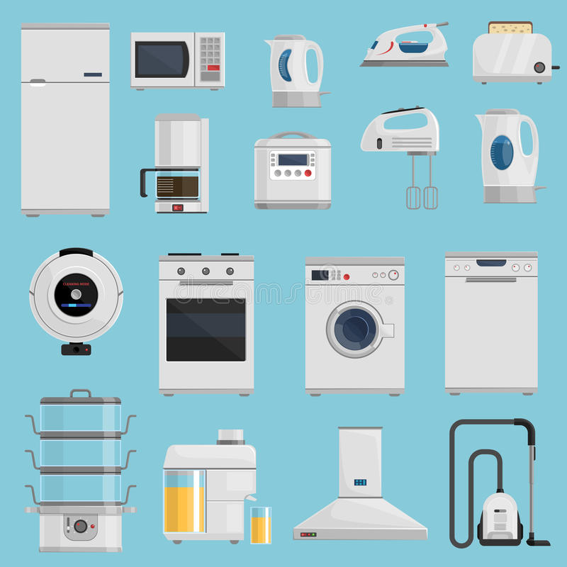 Household Appliances Icons Set royalty free illustration