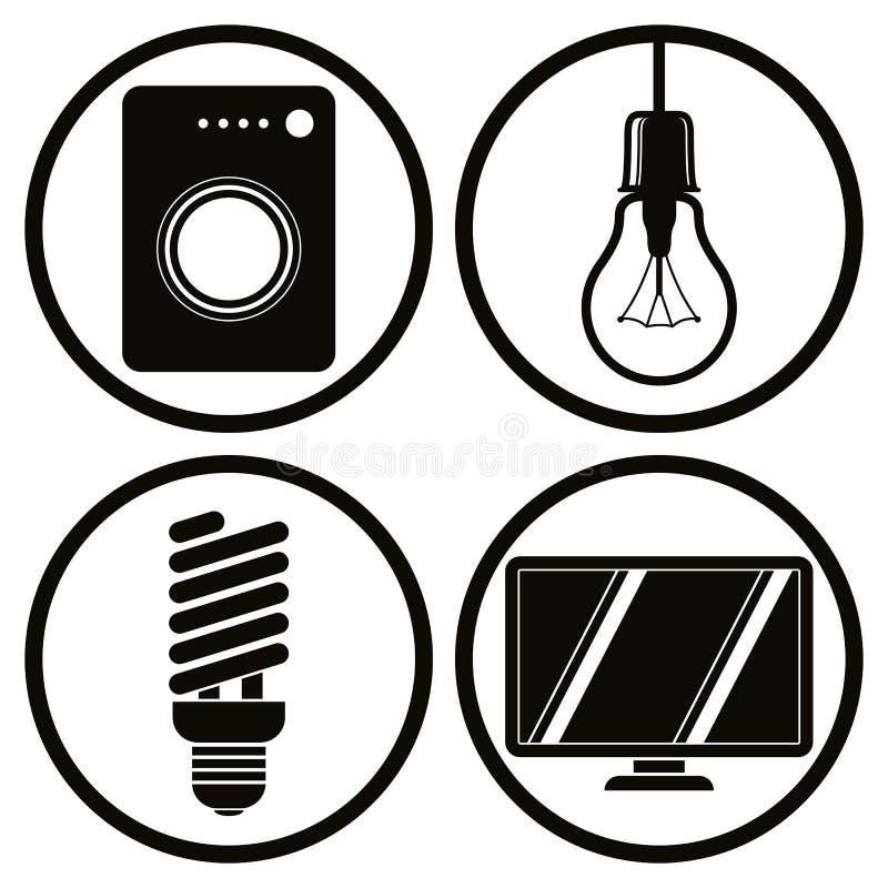 Household appliances icons set, washing machine, light bulb, ene. Rgy saving light bulb, tv vector illustration