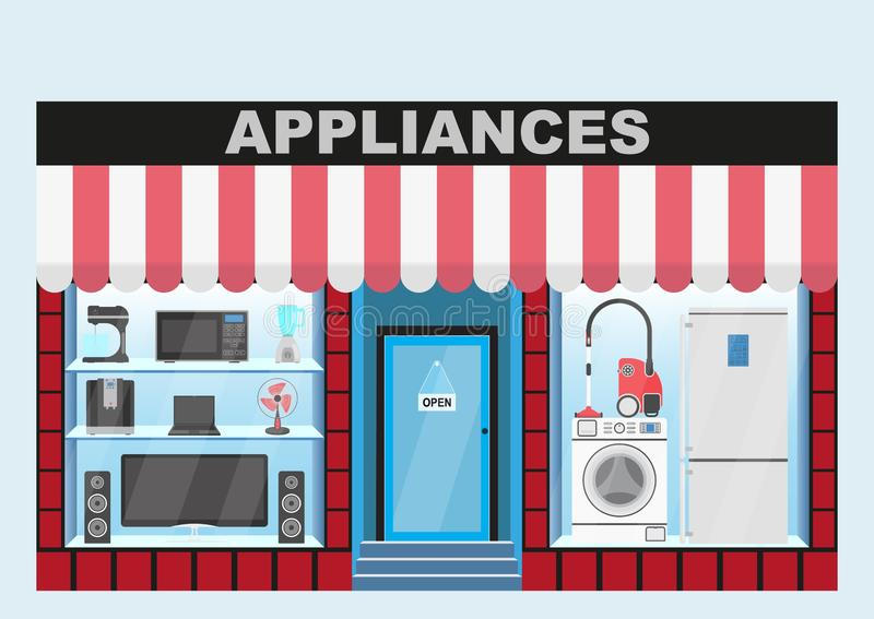 Household appliances store. The interior of the building with a canopy, glass window. stock illustration