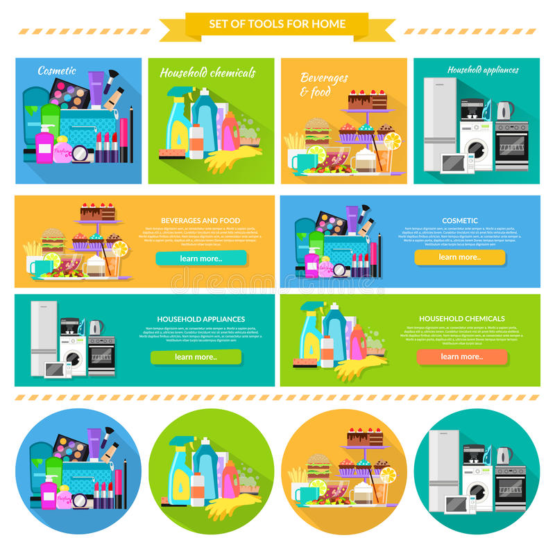 Household and Beverages Food Cosmetic. Household beverages food and cosmetic. Appliance and makeup fashion, lipstick and brush, powder and care, detergents and royalty free illustration