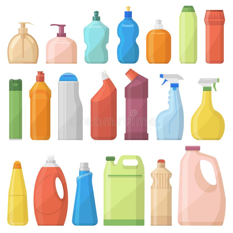 Household chemicals bottles pack cleaning housework liquid domestic fluid cleaner template vector illustration. stock illustration