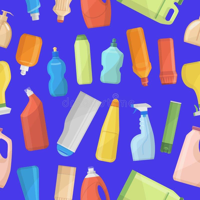 Household chemicals bottles pack cleaning jar temnplate housework liquid domestic fluid in bottle pack cleaner template vector illustration