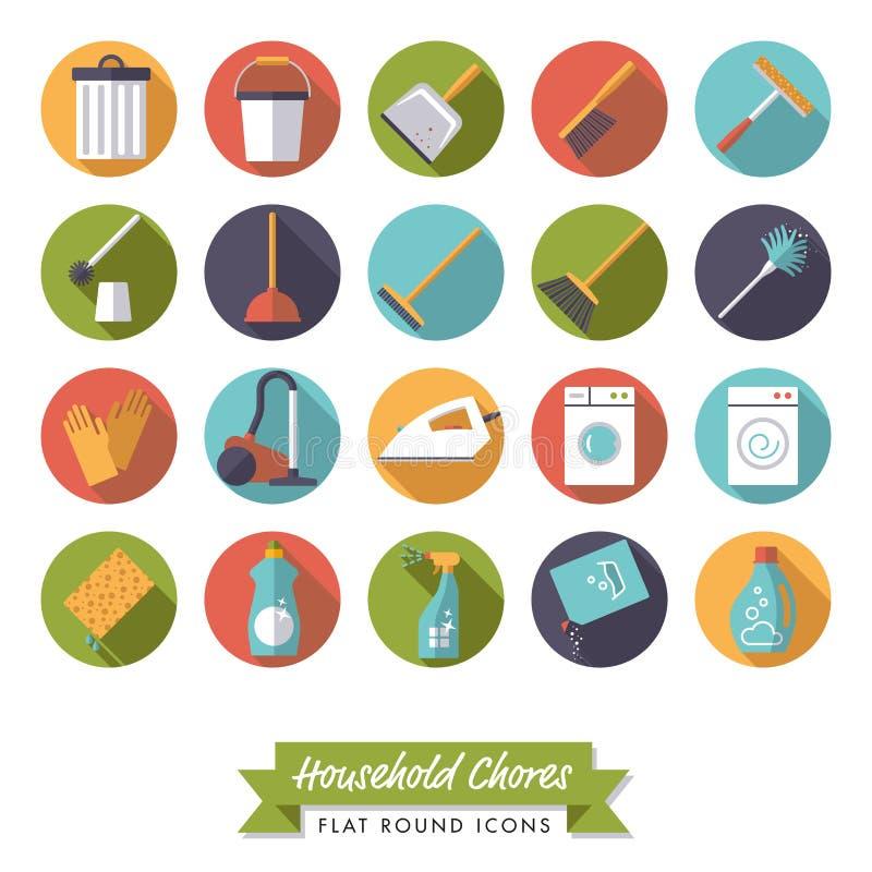 Household chores flat design round icon set. Collection of 20 flat design long shadow household chores icons on white background vector illustration