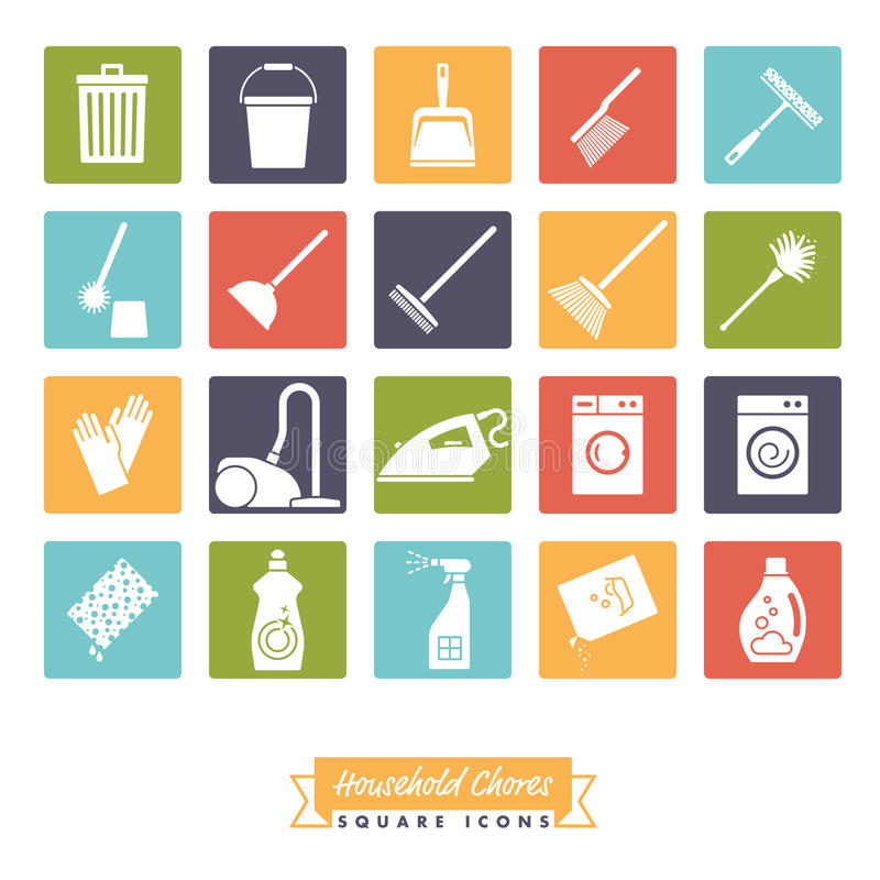 Household Chores Square color Icon Set. Collection of 20 Household Chores Icons negative in colored squares vector illustration