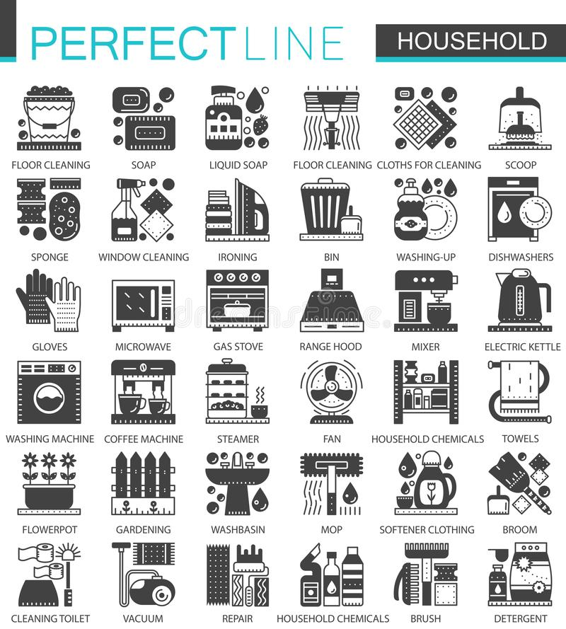 Household Classic Black Mini Concept Symbols Home Appliances Modern