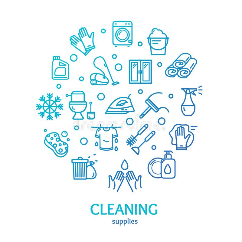 Household and Cleaning Tools Color Round Design Template Line Icon Concept. Vector. Household and Cleaning Tools Color Round Design Template Line Icon Concept vector illustration