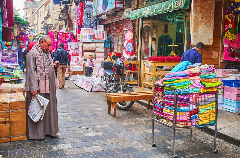 Household department of Khan El-Khalili Bazaar, Cairo, Egypt. CAIRO, EGYPT - DECEMBER 21, 2017: The shops of household department of Khan El-Khalili Bazaar with stock images