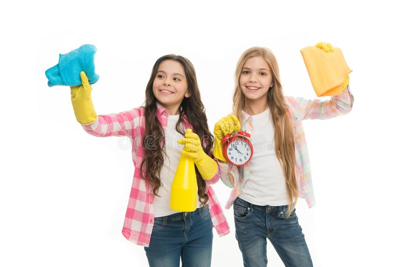 Household duties. Girls with rubber protective gloves ready for cleaning. Informal education. Girls kids cleaning. According to duty. Cleaning check list. Kids stock photo