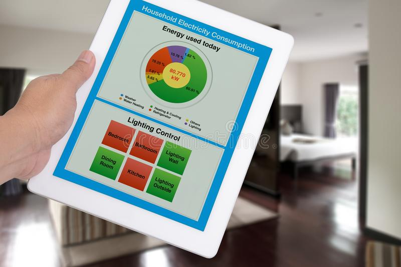 Household electricity consumption control system on digital tablet. royalty free stock photo