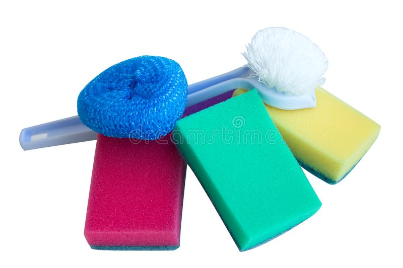 Household equipment for cleaning the kitchen: sponges, rags and brush, isolated royalty free stock image