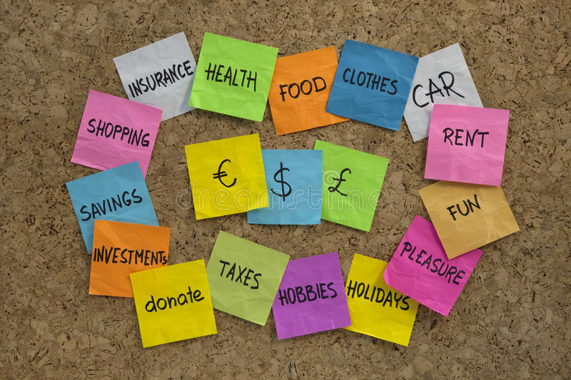 Download Household Finance - Word Cloud On Cork Board Stock Image - Image: 11251071