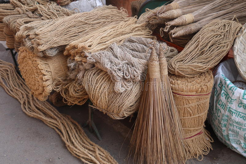 Household goods. Brooms, ropes, baskets and other household goods from environmentally friendly materials are on sale in flea markets royalty free stock photos
