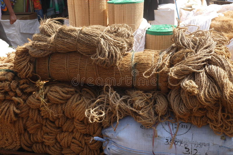 Household goods. Brooms, ropes, baskets and other household goods from environmentally friendly materials are on sale in flea markets royalty free stock image