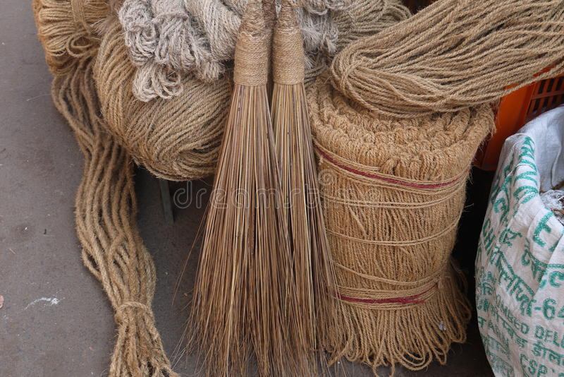 Household goods. Brooms, ropes, baskets and other household goods from environmentally friendly materials are on sale in flea markets royalty free stock photography