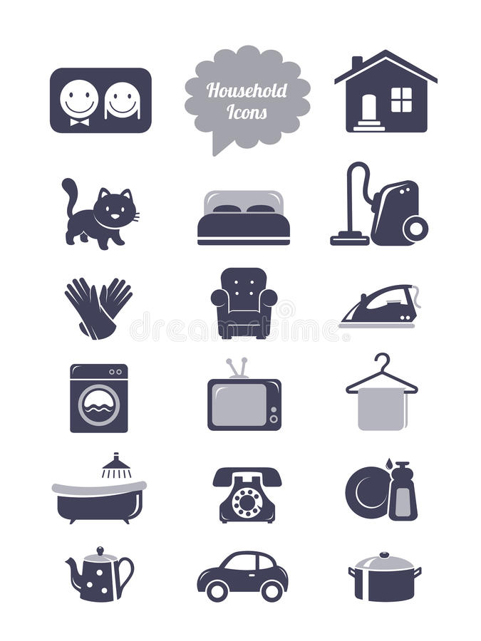 Household icons set. Household icons. Editable vector set vector illustration