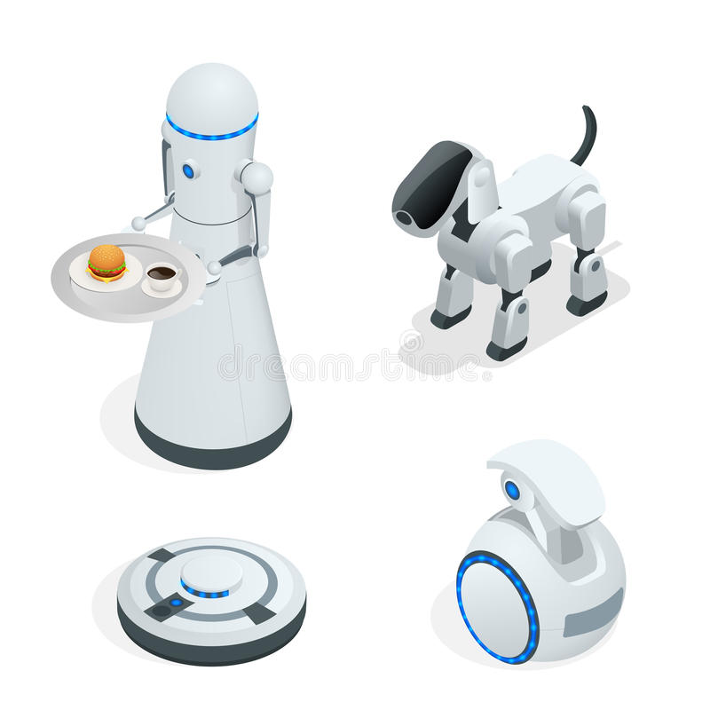 Household isometric robots engineered for people assistance and convenience vector illustration