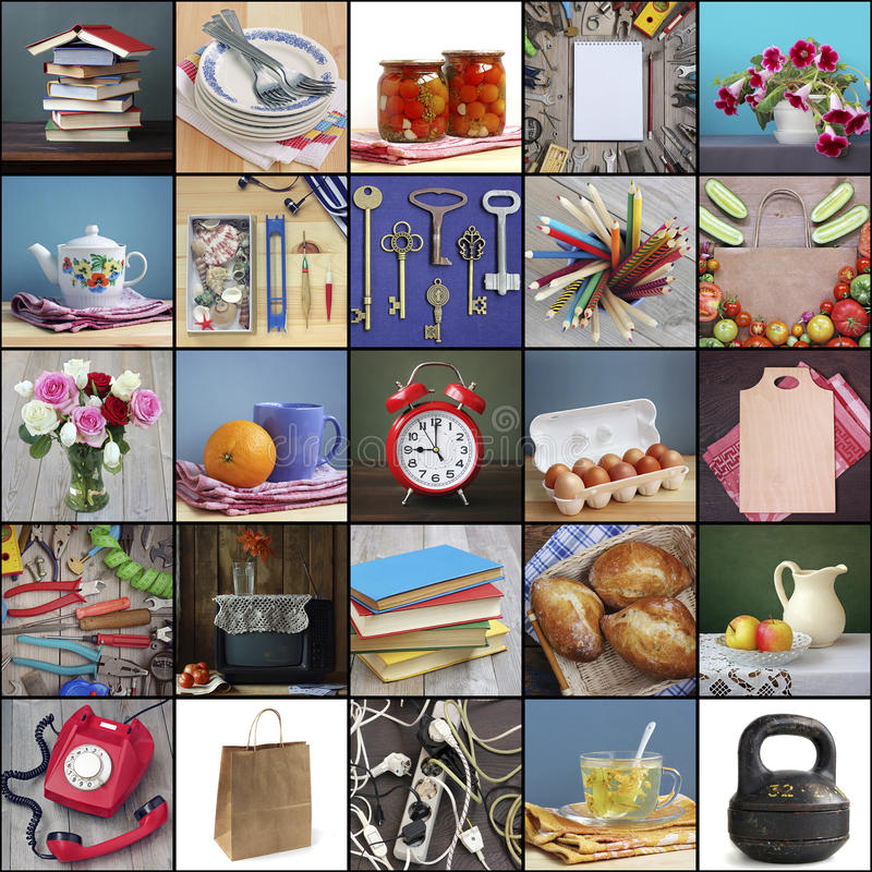 Download Household Items, Collage. Dishes, Electronics, Food, Flowers.  Stock Photo