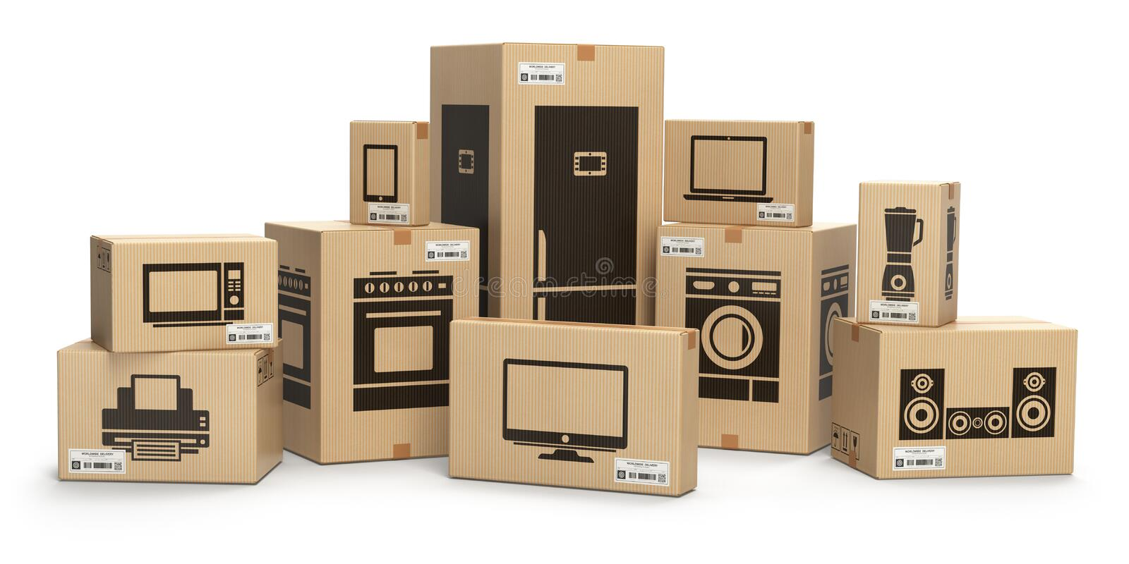 Household kitchen appliances and home electronics in boxes isolated on white. E-commerce, internet online shopping and delivery c. Oncept. 3d illustration stock illustration