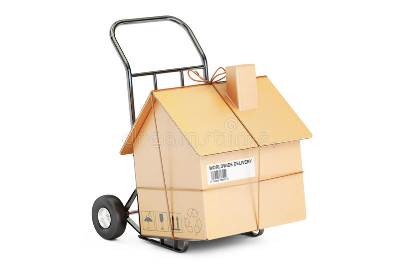 Household moving services concept. Hand truck with cardboard house vector illustration