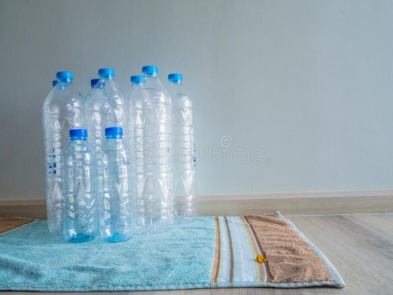 Household plastics when used Will be discarded for further recycling stock photo