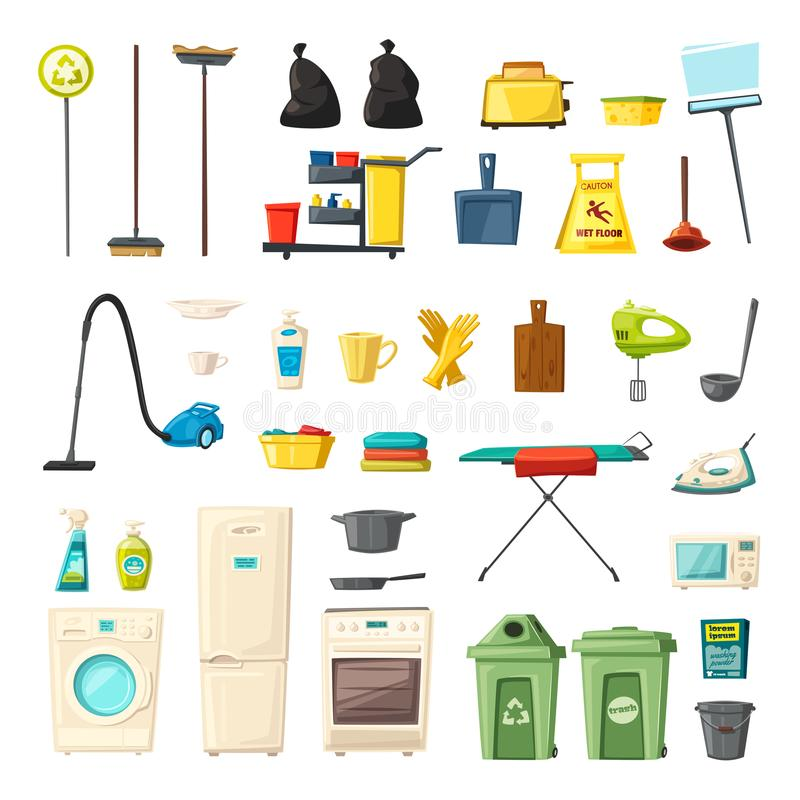 Household set and cleaning supplies icons. Cartoon vector illustration vector illustration