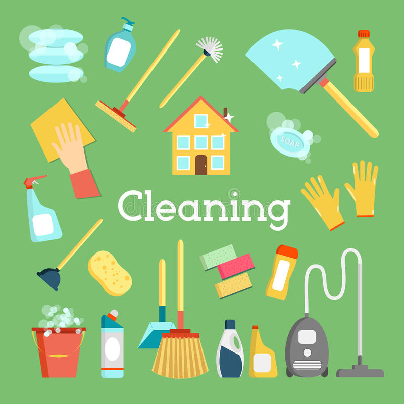 Household supplies and house cleaning flat icons for Minimal art vector