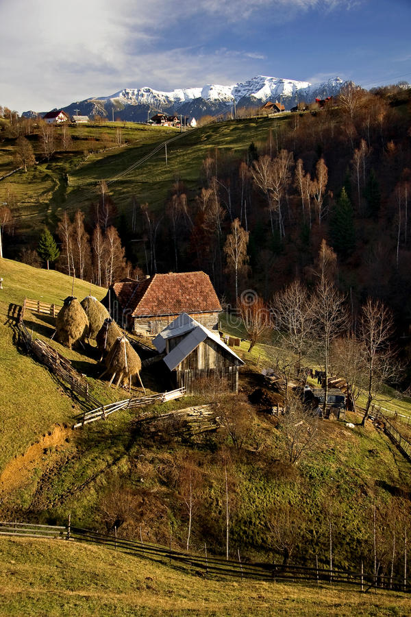 Household in a village in autumn royalty free stock photography